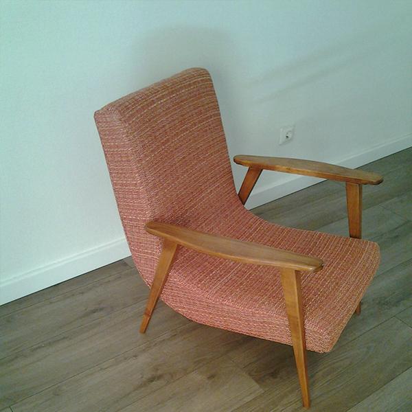r dition d 39 un fauteuil vintage scandinave boomerang ann es 50. Black Bedroom Furniture Sets. Home Design Ideas